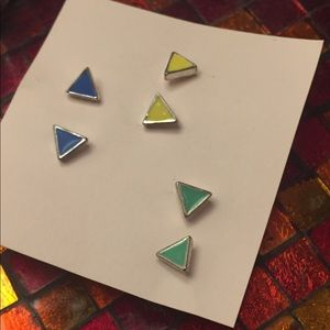Jewelry - Set of 3 Pairs of Colorful Stud Earrings